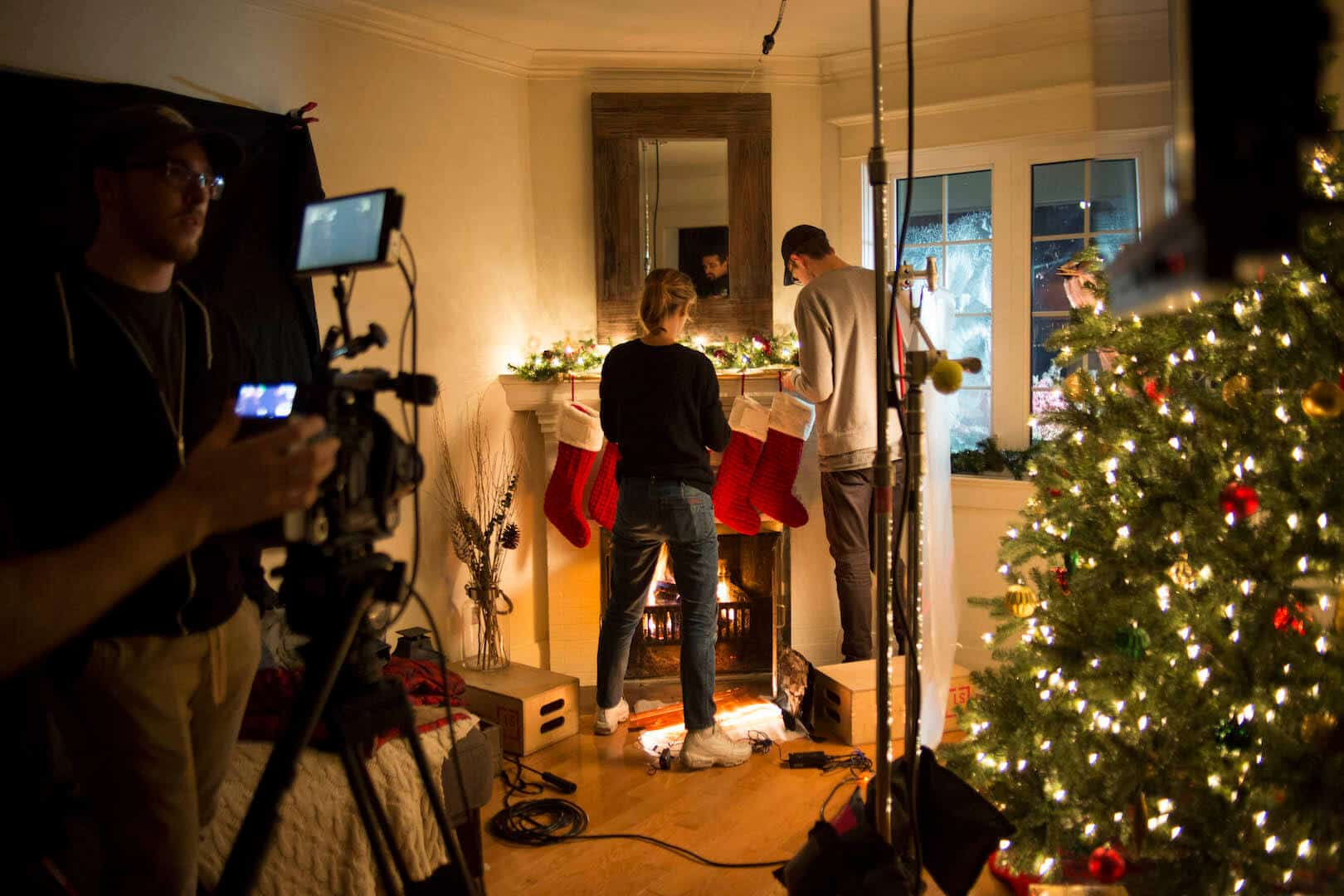 Video shoot in festive holiday family room