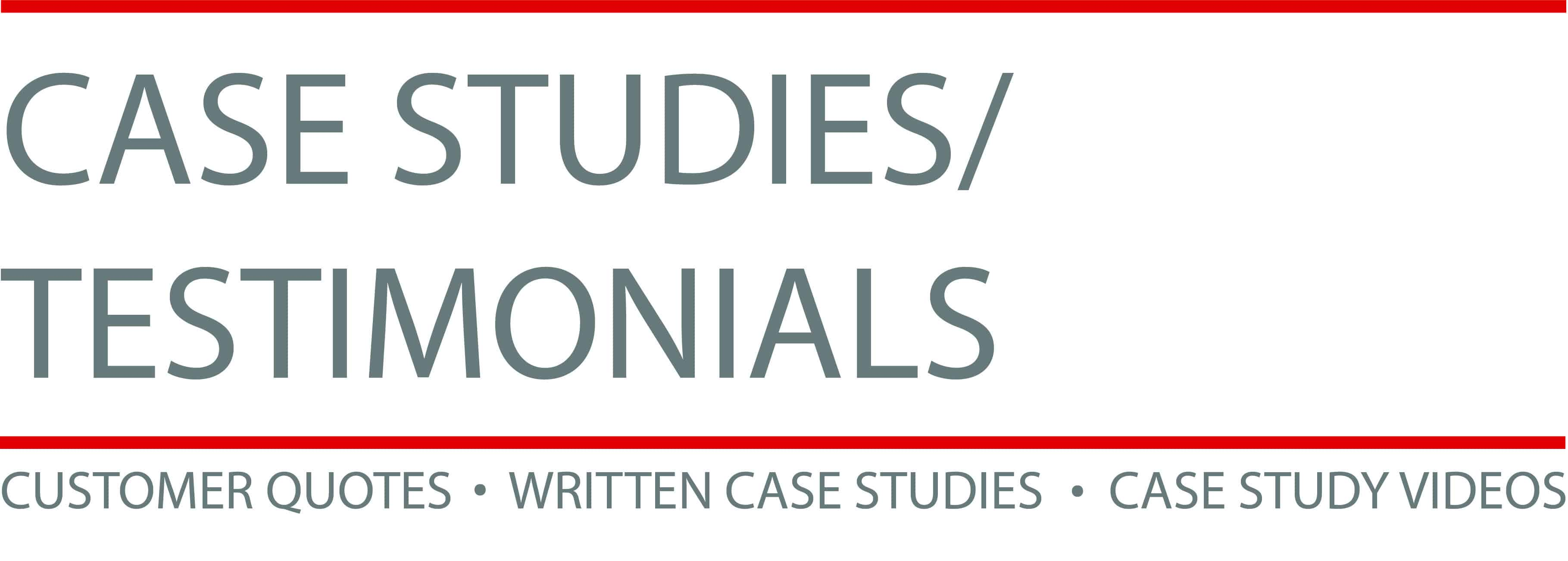 Case Studies and Testimonials Graphic for Sales