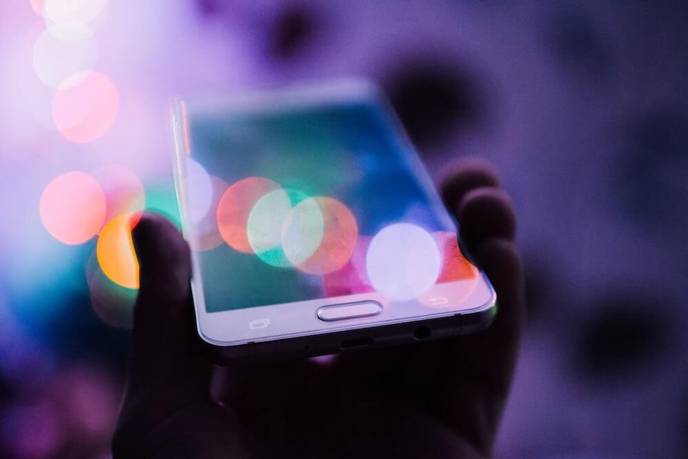 Image of phone in lights