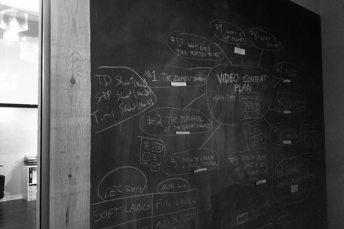 Brain Storm on Chalkboard - black and white